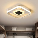 Acrylic Squared Flushmount Lighting Modern LED White Close to Ceiling Lamp for Cloakroom in White/Warm Light
