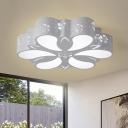 Flower Shaped Iron Flush Mount Contemporary LED White Flush Ceiling Light Fixture for Living Room