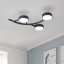 Minimalist Small Drum Flush Lighting Metal LED Bedroom Semi Flushmount in Black with Branch Design