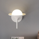 Flared Wall Light Fixture Modern Metal LED Bedside Sconce Lamp in White with Globe Opal Glass Shade