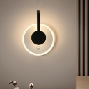 Round and Curved Corner Wall Sconce Acrylic Modern Nordic LED Wall Mount Light Fixture in Black, Warm/White Light