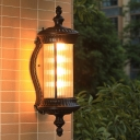 Cylinder Outdoor Sconce Lighting Farmhouse Clear Ribbed Glass 1 Light Black Finish Wall Lamp