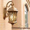 Lantern Outdoor Wall Mount Farmhouse Metallic 1 Head Black/Brass Finish Wall Sconce Lighting