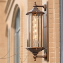 Brass 1-Bulb Wall Mount Fixture Rustic Clear Glass Lantern Sconce Lighting for Corridor