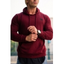 Classic Casual Long Sleeve Drawstring Letter YA Print Pouch Pocket Slim Fitted Hoodie for Mens