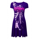 Gothic Girls Short Sleeve Round Neck Letter ROB ZOMBIE Skeleton Graphic Long Pleated A-Line T-Shirt Dress