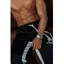 Casual Mens Training Drawstring Waist Letter Printed Contrast Piped Long Length Relaxed Sweatpants