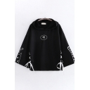 Harajuku Womens Bell Sleeves Chinese Letter Cat Fish Graphic Lace Up Loose Fit Hoodie