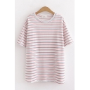 Classic Womens Short Sleeve Round Neck Stripe Printed Relaxed Fit T-Shirt