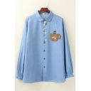 Leisure Trendy Womens Long Sleeve Lapel Collar Button Down Bear Cup Letter COFFEE Embroidered Loose Fit Shirt