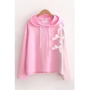 Fancy Plain Long Sleeve Drawstring Bow Tied Patchwork Relaxed Fit Hoodie for Women