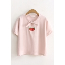 Simple Cute Girls Short Sleeve Bow Tied Neck Strawberry Embroidered Loose Fit T-Shirt