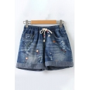 Fashionable Drawstring Waist Floral Embroidered Rolled Edges Bleach Ripped Loose Denim Shorts in Dark Blue