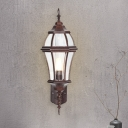 Urn Clear Glass Wall Sconce Lighting Farmhouse 1 Bulb Outdoor Wall Mount Fixture in Rust