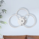 3 Rings Wall Mount Lamp Contemporary Acrylic White LED Wall Sconce for Bedroom in Warm/White Light