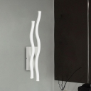 Simplistic Wavy Lines Wall Sconce Light Acrylic Hotel White LED Wall Mounted Lamp in Warm/White Light