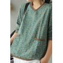 Retro Womens Long Sleeve V-Neck Ditsy Floral Pattern Panel Pockets Knitted Trim Linen Loose Fit T-Shirt