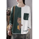 Creative Girls Long Sleeve Round Neck HAPPY Bear Duck Embroidered Ripped Pocket Patchwork Color Block Loose T Shirt