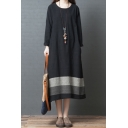 Vintage Simple Womens Long Sleeve Round Neck Stripe Patterned Cotton and Linen Maxi Oversize T-Shirt Dress