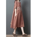 Leisure Vintage Womens Short Sleeve Round Neck Snowflake Printed Linen Ruched Maxi Swing Dress