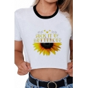 Chic Street Style Girls White Short Sleeve Crew Neck SUCK IT UP BUTTERCUP Sunflower Graphic Contrasted Fit Crop T-Shirt
