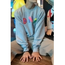 Casual Boys Long Sleeve Round Neck DNA Print Loose Fit Pullover Sweatshirt