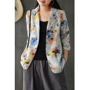 Pretty Ladies Long Sleeve Notched Collar All Over Flower Printed Button Up Pockets Patched Slim Fit Blazer in White