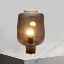Nordic Bottle Shade Night Light Smoke Gray Glass 1 Head Bedroom Nightstand Lamp with Metal Base