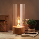 Clear Glass Cylinder Desk Lighting Contemporary 1-Bulb Beige Table Lamp with Wooden Base