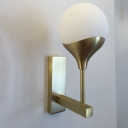 Post Modern 1 Light Angled Arm Sconce Brass Sphere LED Wall Lamp Fixture with Frosted White Glass Shade