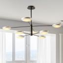 2-Tier Starburst Living Room Hanging Chandelier Metallic 6/8 Heads Modern LED Ceiling Pendant Light in Gold/Black