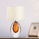 Fabric Cone Night Table Lamp Simple 1-Bulb White Nightstand Lighting with Oval Bubble Glaze Base