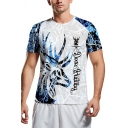 Popular Mens Short Sleeve Crew Neck Deer Pattern Letter Print Slim Fit Graphic T Shirt in Blue