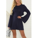 Elegant Ladies Bell Sleeve Round Neck Cut Out Tied Back Mini Pleated A-Line Work Dress in Dark Blue