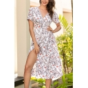 Cute Casual Short Sleeve Surplice Neck Flower Allover Printed Bow Tie Waist Long A-Line Wrap Dress in White