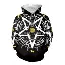 Popular Mens Long Sleeve Drawstring Pentagram Letter Pattern Loose Fit Graphic Hoodie in Black