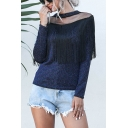 Sexy Stylish Womens Long Sleeve Crew Neck Sheer Mesh Patched Metallic Fringe Embellished Slim Fit T Shirt in Blue