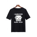 Cool Simple Girls Short Sleeve Round Neck Letter I SURVIVED PANIC 2020 Toilet Paper Graphic Regular Fit Tee Top