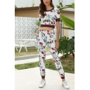 Exclusive Girls Short Sleeve Round Neck All Over Floral Print Striped Fitted Crop Tee & Ankle Length Fitted Pants