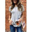 Casual Womens Short Sleeve Round Neck Ruffled Trim Relaxed Fit T-Shirt in Gray