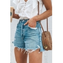 Streetwear Womens Chic Mid Rise Raw Edge Distressed Bleach Relaxed Fit Denim Shorts in Light Blue