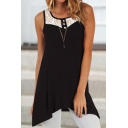 Leisure Womens Sleeveless Round Neck Button Up Floral Pattern Asymmetric Hem Loose Fit Tank Top