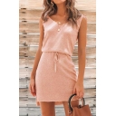 Stylish Ladies Solid Color Sleeveless V-Neck Drawstring Waist Slit Side Short A-Line Tank Dress