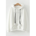 Thickened Fashion Long Sleeve Paw Drawstring Letter MOUSE Embroidery Pouch Pocket Sherpa Liner Relaxed Ears Hoodie