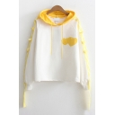 Trendy Girls Long Sleeve Drawstring Heart Printed Straps Contrasted Relaxed Hoodie