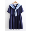 Preppy Girls Short Sleeve Sailor Collar Striped Short Pleated Swing Dress
