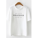 White Simple Short Sleeve Crew Neck WHATEVER Letter Print Relaxed T Shirt for Girls