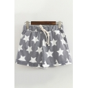 Stylish Girls Drawstring Waist All Over Pentagram Printed Striped Rolled Edge Relaxed Shorts