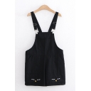 Preppy Girls Sleeveless Patched Pocket Cat Printed Straight Suspender Shorts
