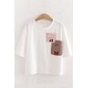 Womens Lovely Short Sleeve Round Neck Cat Letter Embroidery Patched Pocket Relaxed T Shirt
